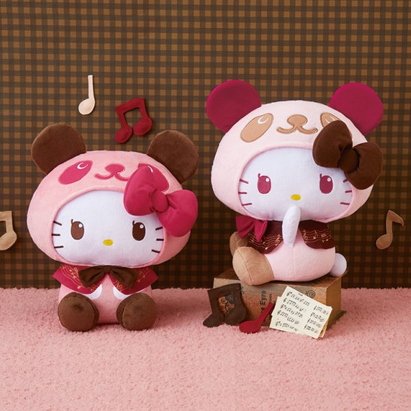 Hello Kitty Panda style soft toy in musical notes